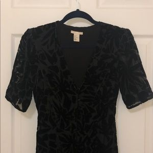 Black velour flower print dress